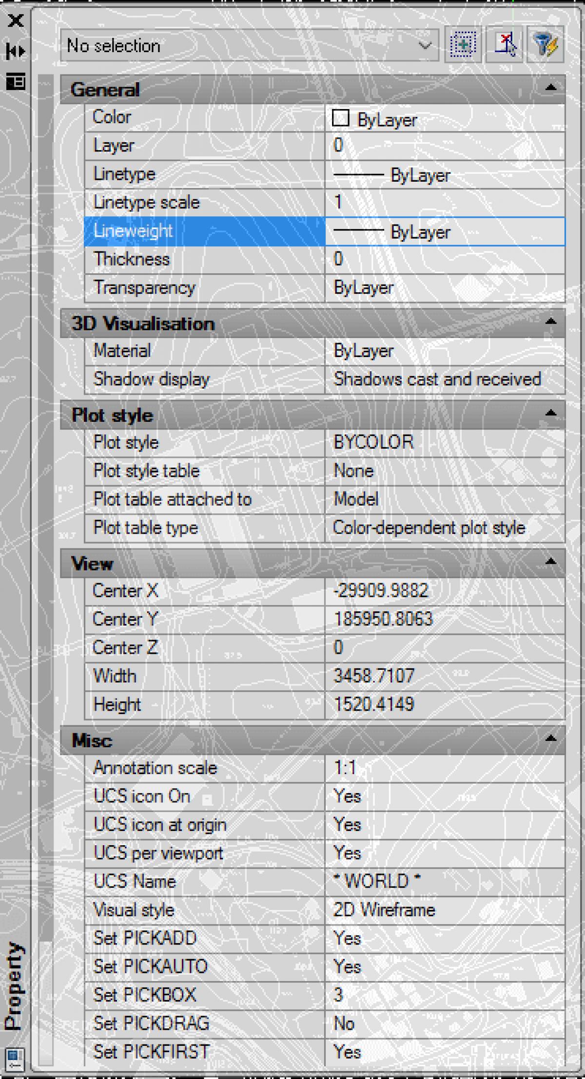 IntelliCAD - <span>Transparência do</span>Propriedades Painel