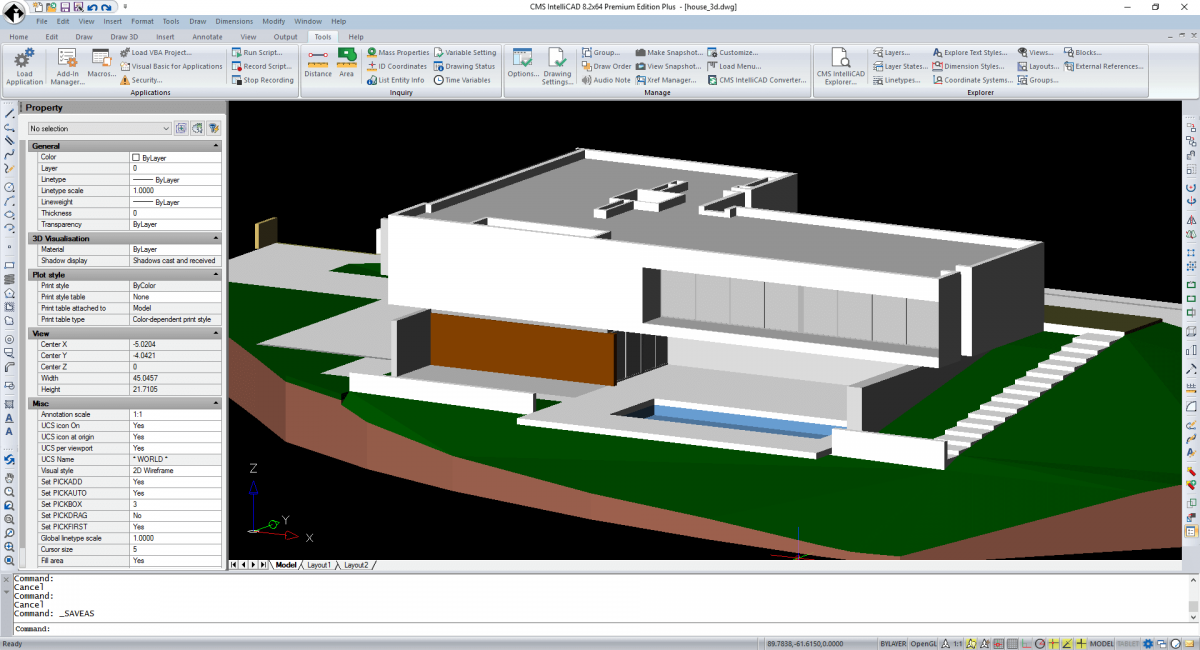 CMS IntelliCAD sombreamento <span>3D</span>