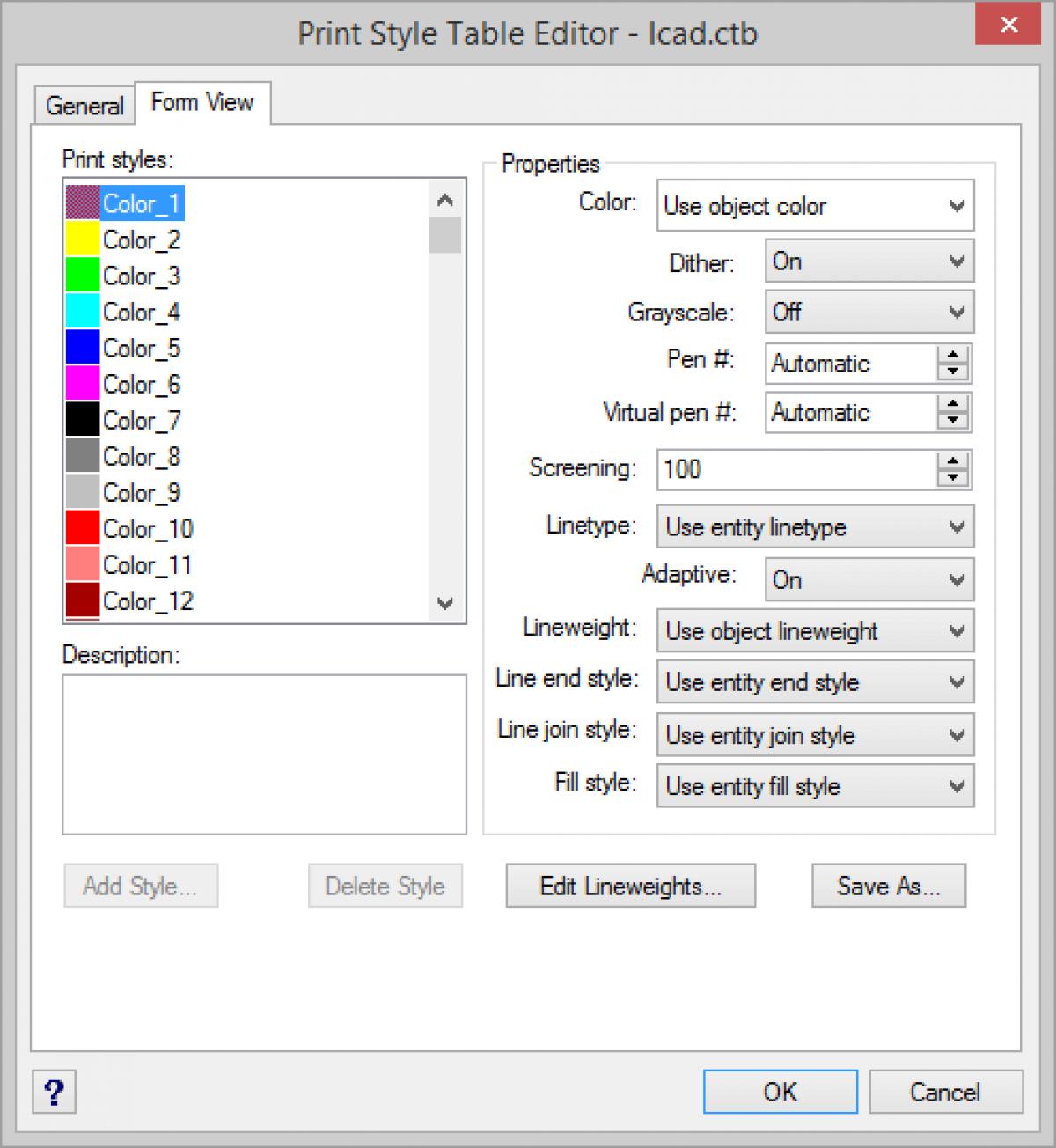 IntelliCAD - Editor de tabela de estilo de impressão