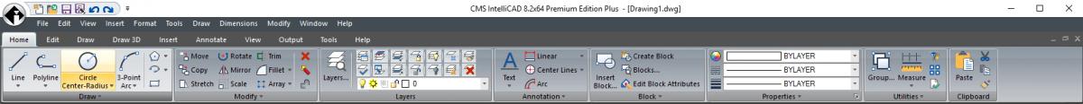 IntelliCAD Ribbon - open